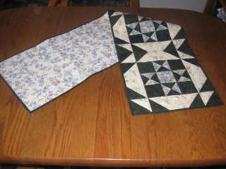 Handmade Table Runner spring floral quilted doves