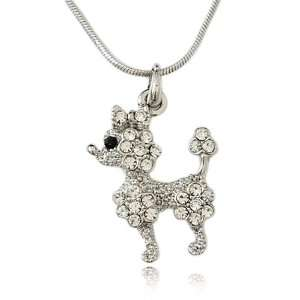 Silvertone Crystal Poodle Charm Necklace Fashion Jewelry