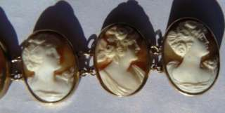Rare antique Victorian 14k gold Cameo bracelet,9 different hand carved