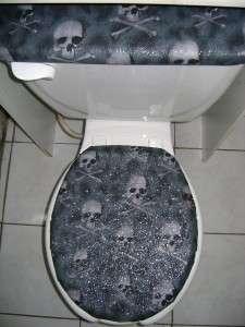 SKULLS & BONES BLACK GLITTER GLAM Fabric Toilet Seat Cover Set