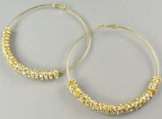 Gold Rhinestone Hoops Earrings Basketball Wives POPARAZZI inspired
