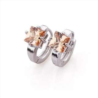 Alluring 9K Gold Filled Womens Hoop Earring.New Cubic Zirconia