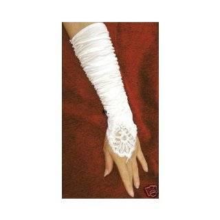 Flowers Bridal Glove Fingerless Satin Lace Pearl G4