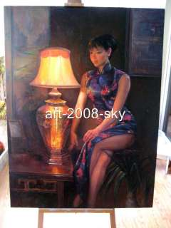 Original women Oil painting female art chinese Beautiful girl 36x48