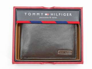 HILFIGER BROWN LEATHER BIFOLD WALLET PASSCASE AND VALET NIB