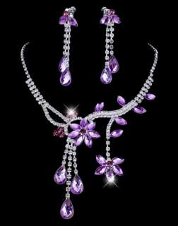 WHOLESALE 1set charm Rhinestone Necklace&earrings free