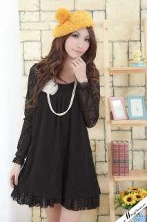 3XL Womens Black / Brown Floral Lace Pattern Mini Dress QB2323