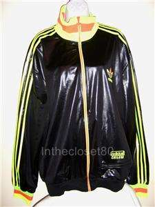 ADIDAS CHILE 62 RIBBED MENS WOMENS TRACK TOP JACKET BLACK/NEON RASTA