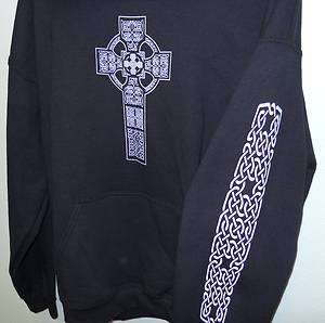 QUALITY MADE WARM CELTIC CROSS HOODIE in black