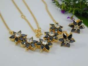STUNNING ONYX CZ SET 22k 24k Gold gp Thai Necklace Earrings