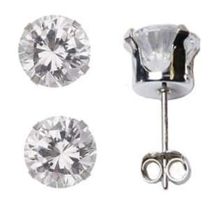 APRIL Birthstone Clear White Round Cut Cubic Zirconia CZ Sterling