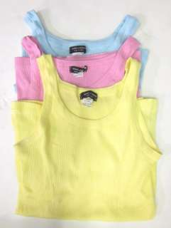 LOT 3 MIMI & COCO Yellow Blue Pink Ribbed Knit Tanks S