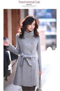 New Womens Slim Waistband Woolen Warm Autumn Winter Long Coat Jacket