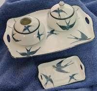 Antique Bluebird Vanity Dresser Set Tray Trinket Boxes