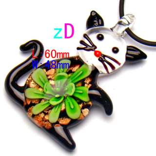G2911 Cute Green Flower Cat Murano Lampwork Glass Necklace Pendant