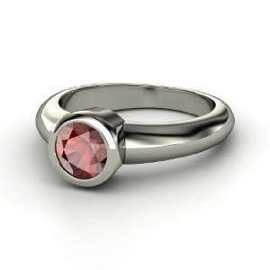 Spotlight Ring, Round Red Garnet 14K White Gold Ring