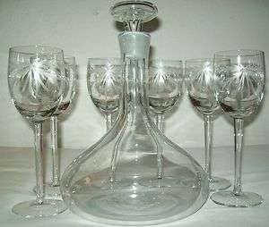 LONG STEM ETCHED CRYSTAL GOBLET/GLASSES AND SHIP STYLE WINE/PORT