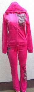 ANGEL WINGS in sinful PINK color dress 2 pc Tracksuit sz XL Ed Hardy