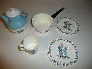 Holly Hobbie Lot of Plastic Tea Set Plates, Cup, Teapot   Plastic