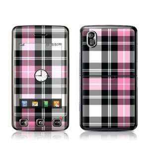 Pink Plaid Design Protector Skin Decal Sticker for LG Cookie KP500