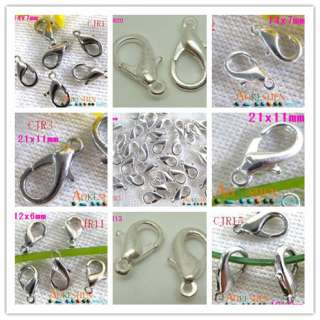 60g Various Size Lobster Clasps Charm Beads Jewelry Findings Silver