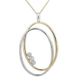 14K Two Tone Gold 0.07cttw Round Diamond Necklace Jewelry