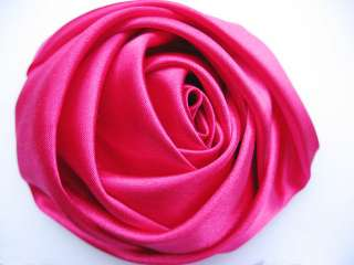 10 Big Satin 4d Rose 3 Craft Wedding Hair Bow Headband Hot Pink RF122