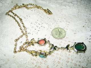 VINTAGE STUBBINg SCARAB NECKLACE GOLD PLATED