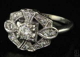 VINTAGE 14K WHITE GOLD .45CT VS1/G DIAMOND WEDDING/ENGAGEMENT RING