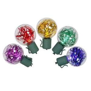 Set of 25 Multi Colored LED G40 Tinsel Christmas Lights