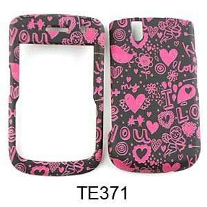 Blackberry Tour 9630 Bold 9650 Pink Hearts I Love You on Black Design