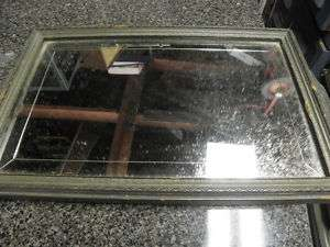 VINTAGE BEVELED MIRROR / TRAY WITH CARVED WOOD FRAME