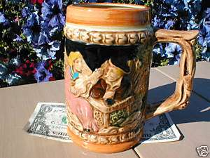 HANDPAINTED JAPANESE CERAMIC BEER STEIN PUB TANKARD