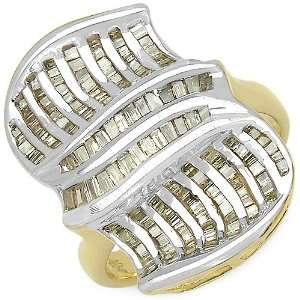 21 Carat 14K Gold Plated Genuine Diamond Accents Sterling Silver