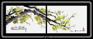 Oriental painting (Cherry blossoms) Set of 2 canvases