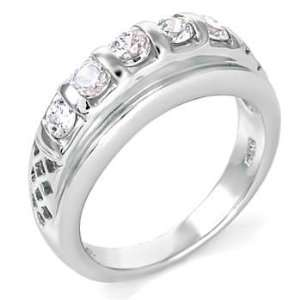 925 Sterling Silver Wedding Ring with Fashion Forward Look, Crafted