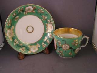 ANTIQUE HAND PAINTED CHERUB JUMBO CUP & SAUCER