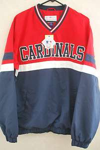 NEW St. Louis Cardinals Mens L V Neck Windbreaker Jacket Sewn MLB NWT