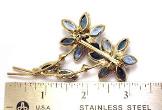 Pin Juliana Double Sapphire Blue Prong Set Rhinestones Jewelry