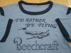 LOOK 70s vtg BEECHCRAFT airplane T SHIRT baron BONANZA