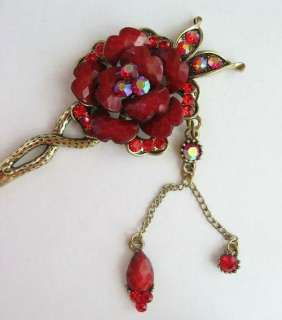 COLORS SWAROVSKI CRYSTAL DANGLE FLOWER HAIR STICK PIN PICK 614