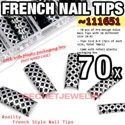 70 pcs Pre Designed French False Nail Tips   Linning Design