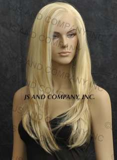 FRONT WIG Long Straight Strawberry Blonde & Pale Blonde Mix.