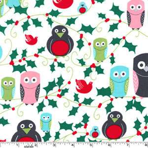 Hoot Michael Miller Holiday Owl Penguin Christmas Holly Red Green Aqua