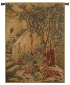 CHENILLE HARVEST TIME BELGIUM TAPESTRY WALL HANGING