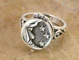 STUNNING STERLING SILVER MOON n STAR POISON RING size 9