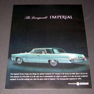 1964 GREEN CHRYSLER IMPERIAL CROWN COUPE PHOTO PRINT AD