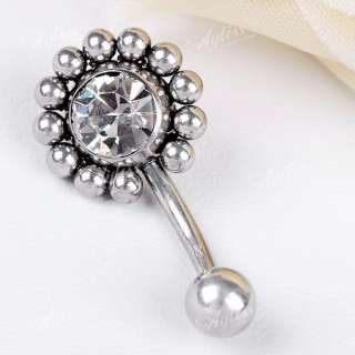 Stainless Steel Clear Crystal Sun Flower Navel Ring 1PC