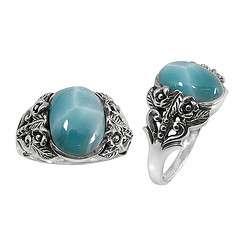 Exquisite LARIMAR Art Deco sterling silver 925 ring