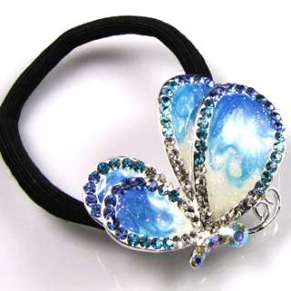 1p rhinestone crystal butterfly hair scrunchie ponytail